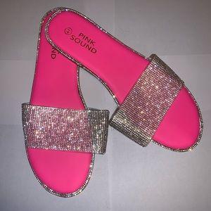 Neon pink rhinestone sandal